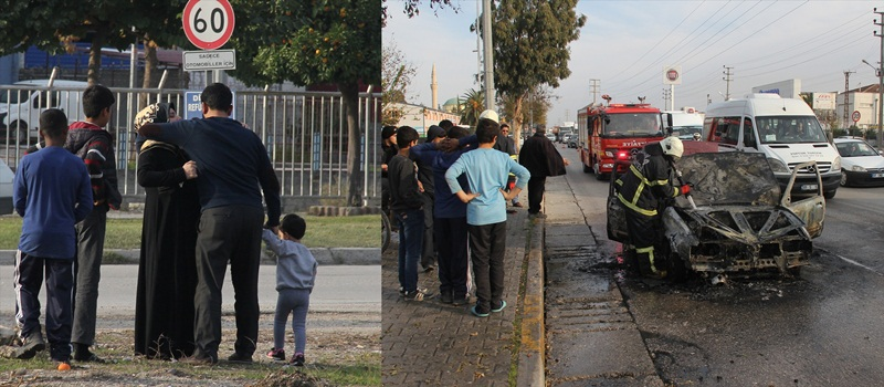 Adana'da seyir halindeki otomobilde yangın