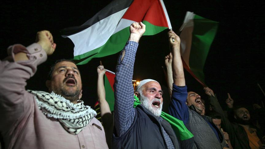 İsrail'in İstanbul Başkonsolosluğu önünde Filistin protestosu
