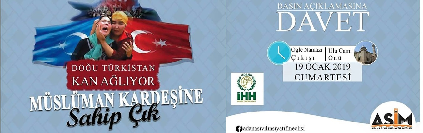 Adana İHH ve ASİM'denDoğu Türkistan İçin Basın Açıklaması