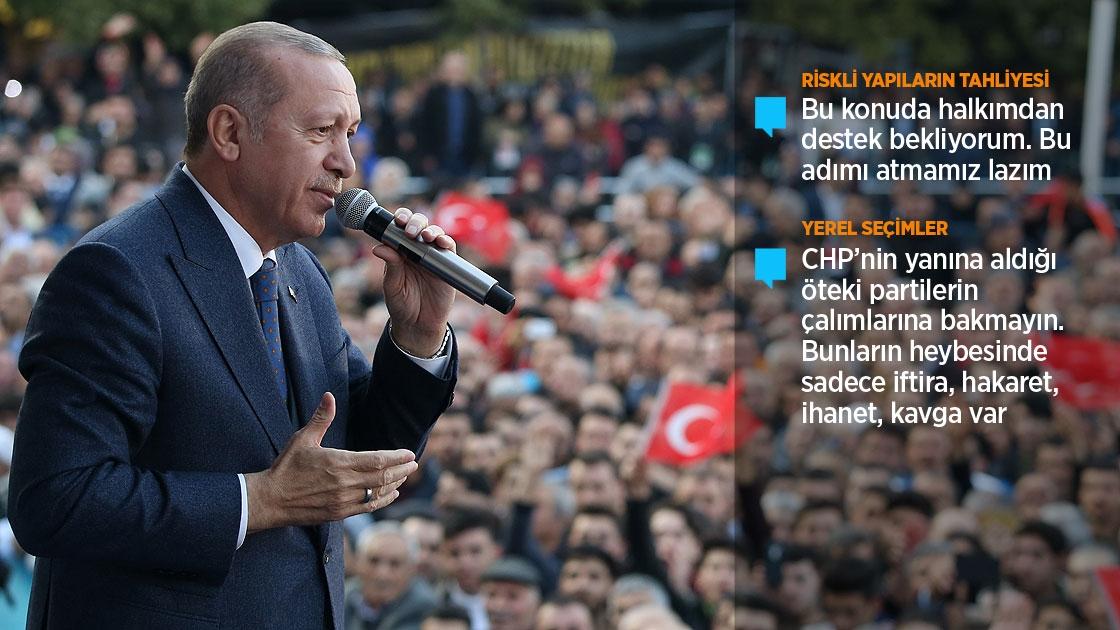 Erdoğan: Riskli yapıların tahliyesinde halkımdan destek bekliyorum