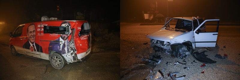 Adana'da alkollü sürücü seçim minibüsüne çarptı
