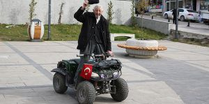 107 yaşında ATV kullanıyor
